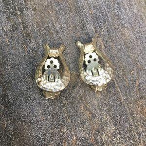 Vintage Jewelry - Vintage Silver Tone Horsebit Earrings